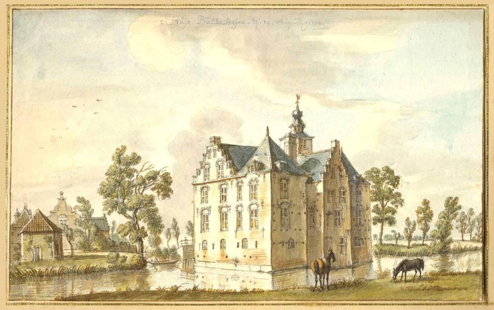 Kasteel Bulkestein in Deil. Tekening Jan de Beijer, 1750